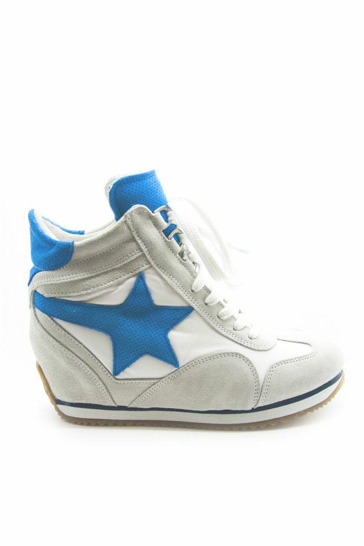Beyaz Dolgu Topuklu Spor ayakkabı - Mavi Yıldız   En Yeni En Şık Rugan Topuklu Ayakkabı Modelleri