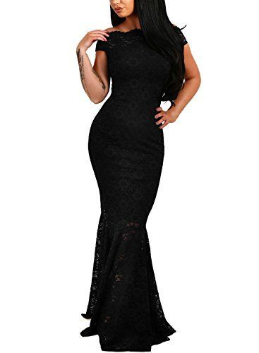 Elapsy Womens Sexy Off Shoulder Bardot Lace Evening Gown Fishtail Maxi Dress Black Medium #maxidress #eveninggown