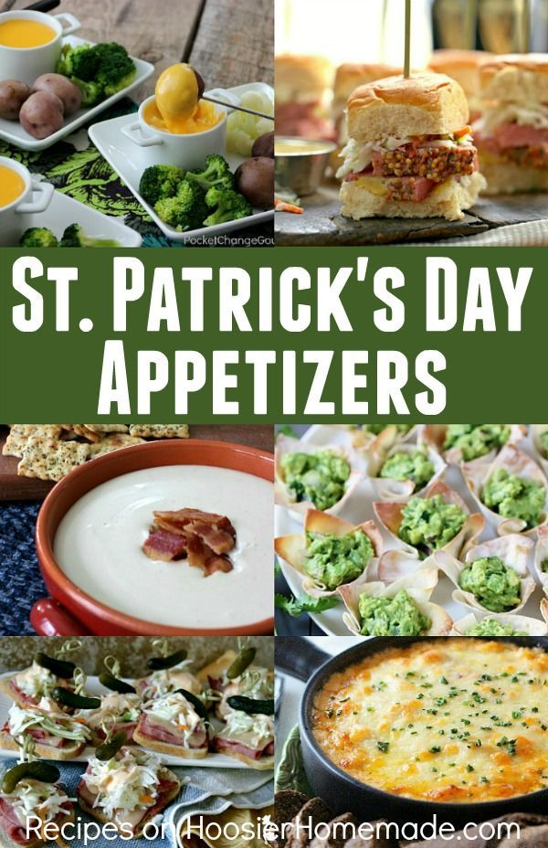 St. Patrick's Day Appetizers - 6 AMAZING recipes for your St. Patrick's Day Celebration! Serve them as appetizers or as a meal!