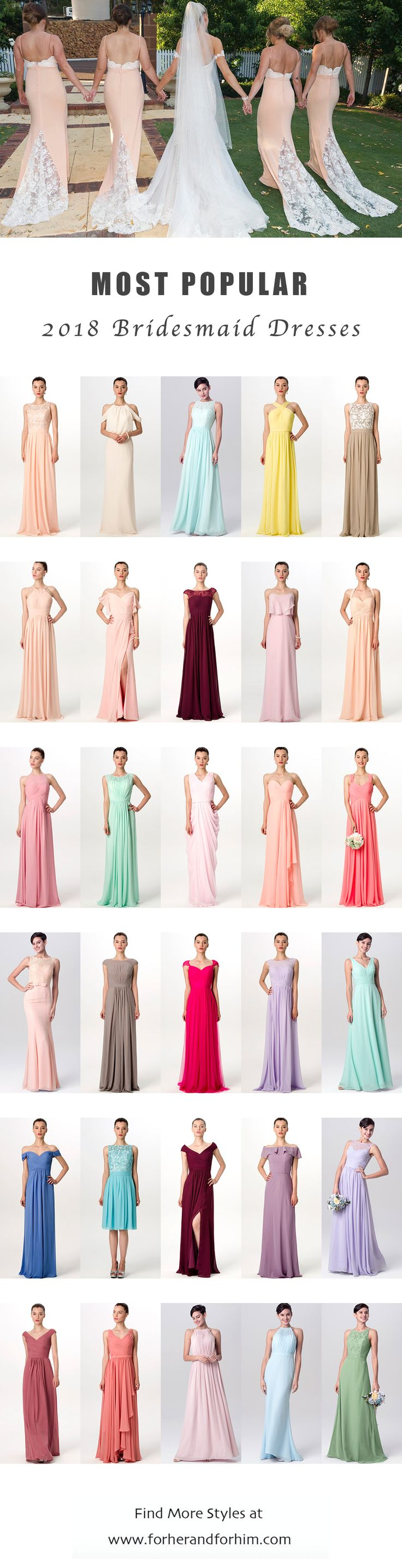 Most popular bridesmaid dresses from FHFH 2018 collection! All styles are on huge sale NOW! Check it out!