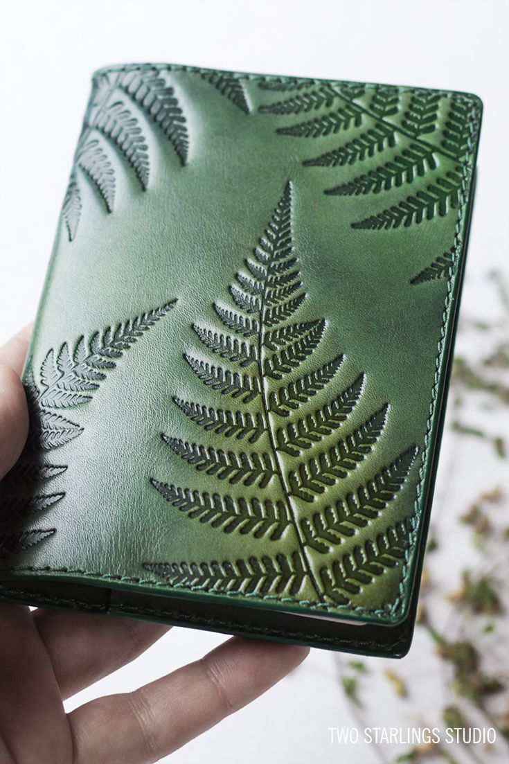 Green Leather Passport Cover Holder, Personalized Travel Wallet, Fern Leaves, Botanical Ornaments, Embossed and Handpainted, Gardening gift