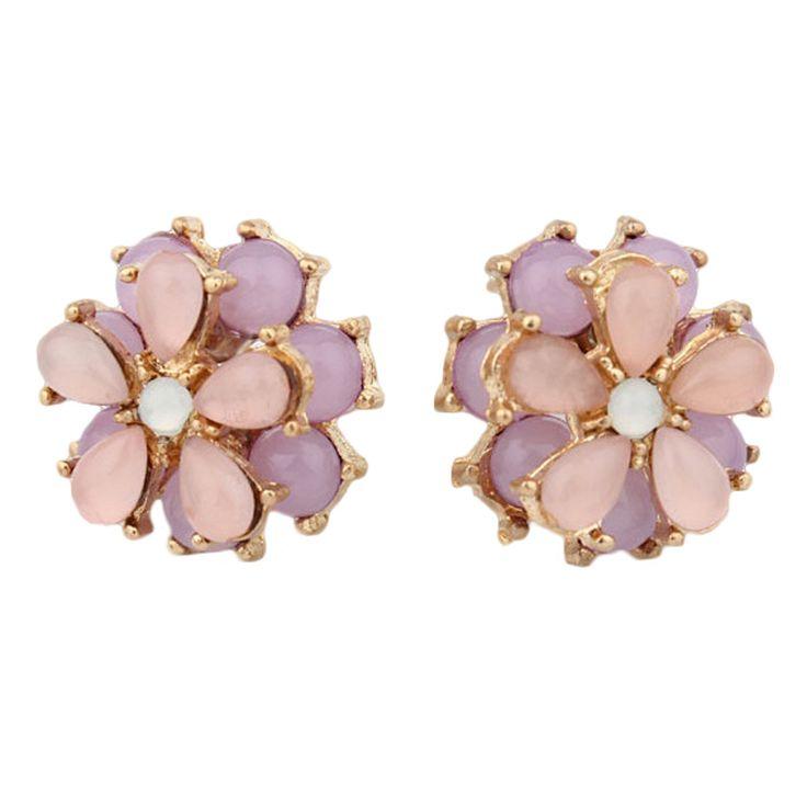 2016 Fashion Jewelry Stud Earrings For Women Cat Eye Gem Stones Flower Earrings Gold Plated Metal Alloy Boucle d'oreille