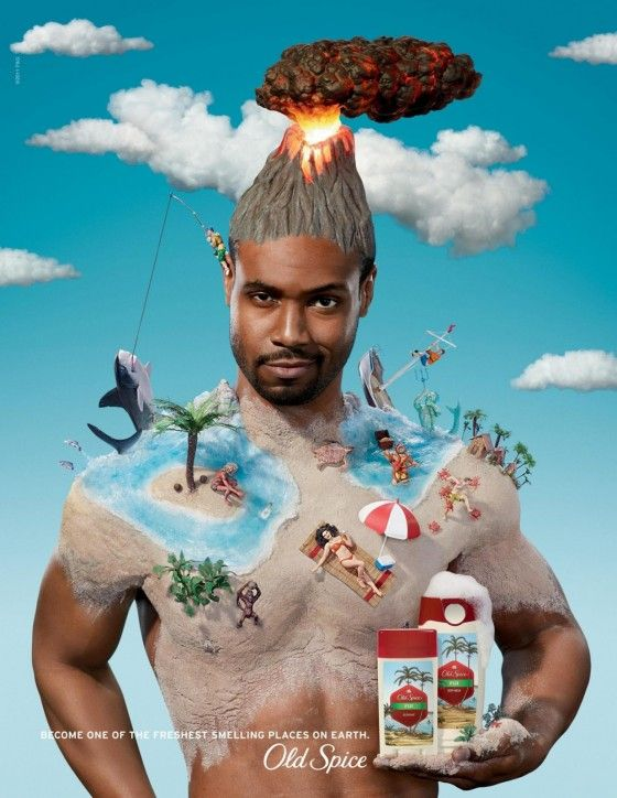 Old Spice Print Ad that ties into their commercials.