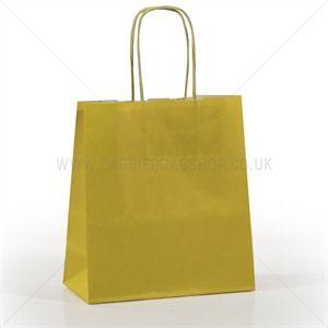 Premium Papiertragetaschen mit Kordelgriffen gelb