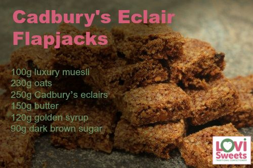Cadbury's Chocolate Eclair Flapjacks - Soft, chewy and delicious!  Click to see the full recipe.  Buy sweets online @ LoviSweets