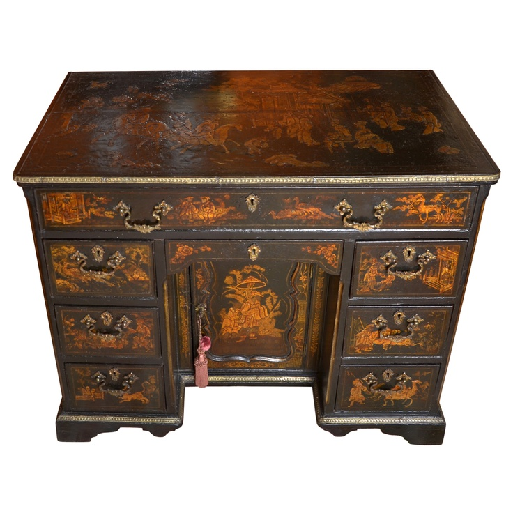 an english 17th century lacquer desk  United Kingdom  circa 1680  containing 8 drawers and a door .13.6
