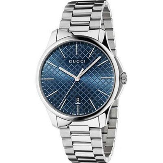 Cassa in acciaio, quadrante con motivo diamante blu scuro, bracciale in acciaio