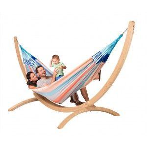 Familien-Hängematte DOMINGO-dolphin mit Holzgestell CANOA unter https://www.haengematten.boutique/haengematten-mit-gestell.html