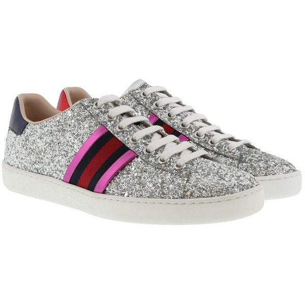 Gucci Sneakers - Ace Glitter Sneaker Silver - in colorful - Sneakers... (2,355 ILS) ❤ liked on Polyvore featuring shoes, colorful, gucci, multi color glitter shoes, toe cap shoes, silver metallic shoes and toecap shoes