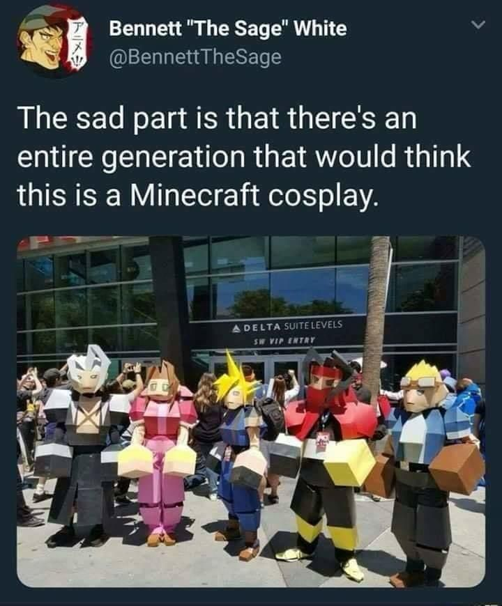 This Is A Minecraft Cosplay Final Fantasy Vii Final Fantasy Cosplay Final Fantasy Funny Final Fantasy Vii