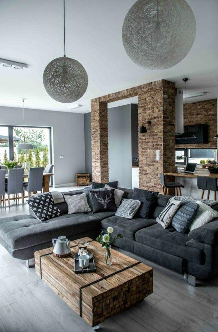 Cool Inneneinrichtung Ideen Wohnideen Wohnzimmer Graues Ecksofa Rustikaler  Couchtisch Haengelampen