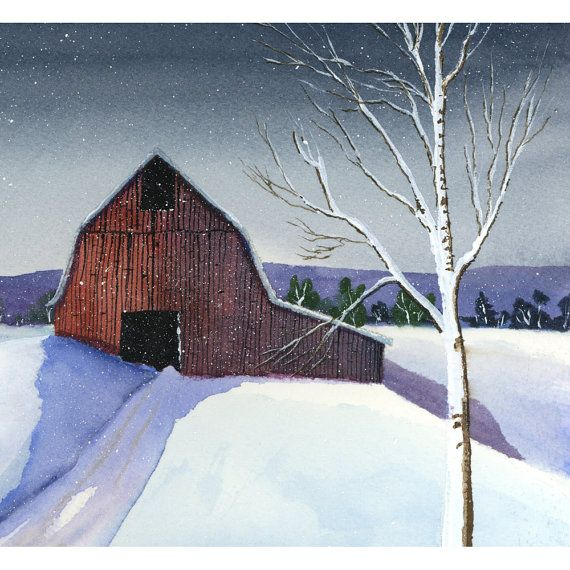 Red Barn Winter Painting Site Youtube Com