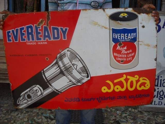 Vintage Eveready Torch & Battery Porcelain/ Enamel Sign ADV EHS