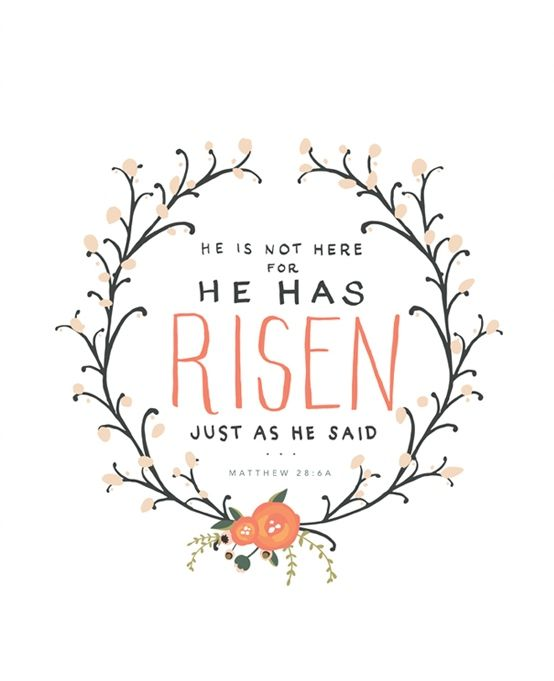 """He is not here, for He has risen, just as He said."" Matthew 28:6a"