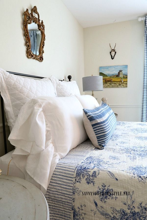 French country bedroom| guestroom| toile| checks| linen| blue and white| antiques| collected| new and old