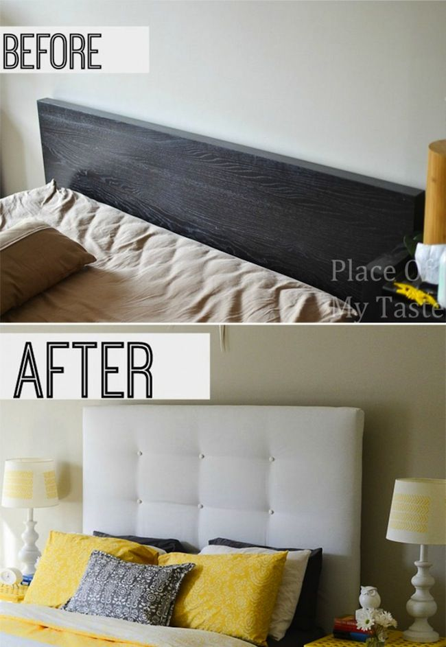 Before and After IKEA Hack DIY Headboard - Place of My Taste