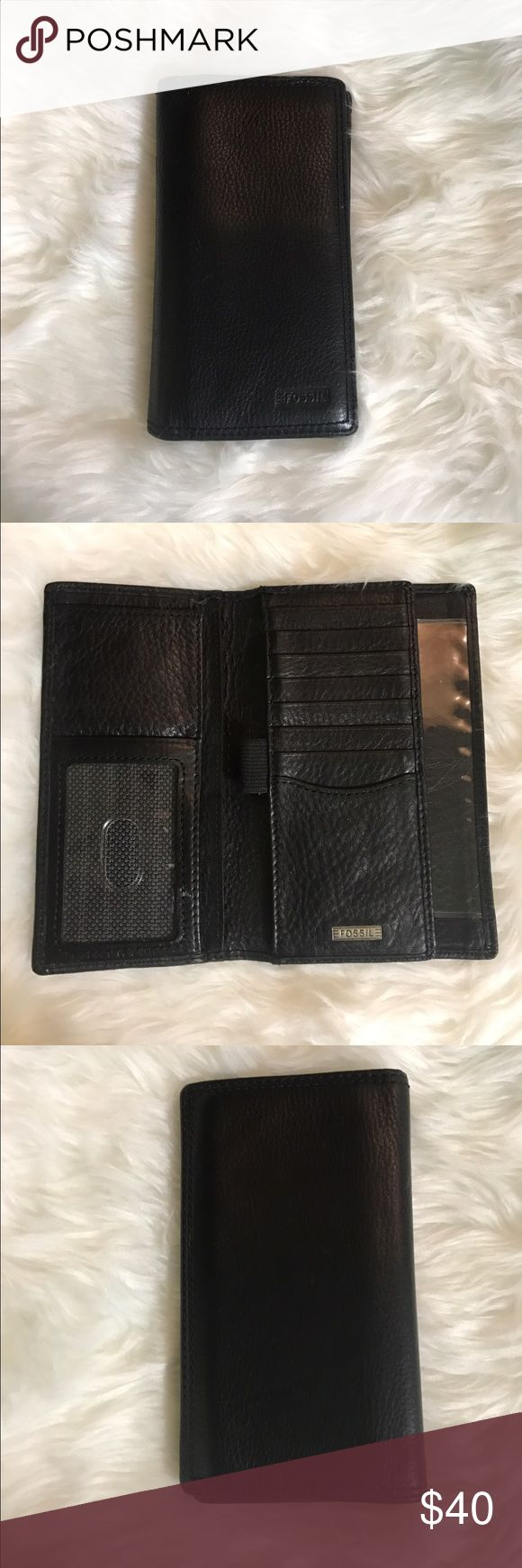 Fossil Men's Checkbook Wallet Gently used, almost brand new, soft leather men's Fossil wallet. Convenient for carrying all your cards and all your cash and even has a slot for you to put your checkbook in. Fossil Bags Wallets
