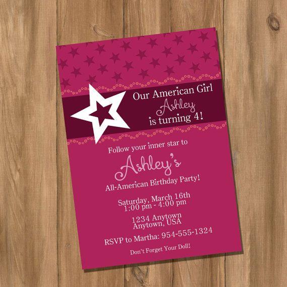 American Girl Inspired Birthday Party Invitation by DigiPrintz, $10.00