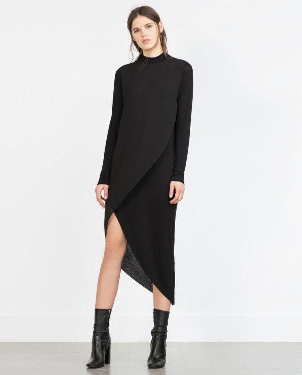 catalogo-zara-2016-ropa-vestido-combinado-asimetrico-negro - ModaEllas.com