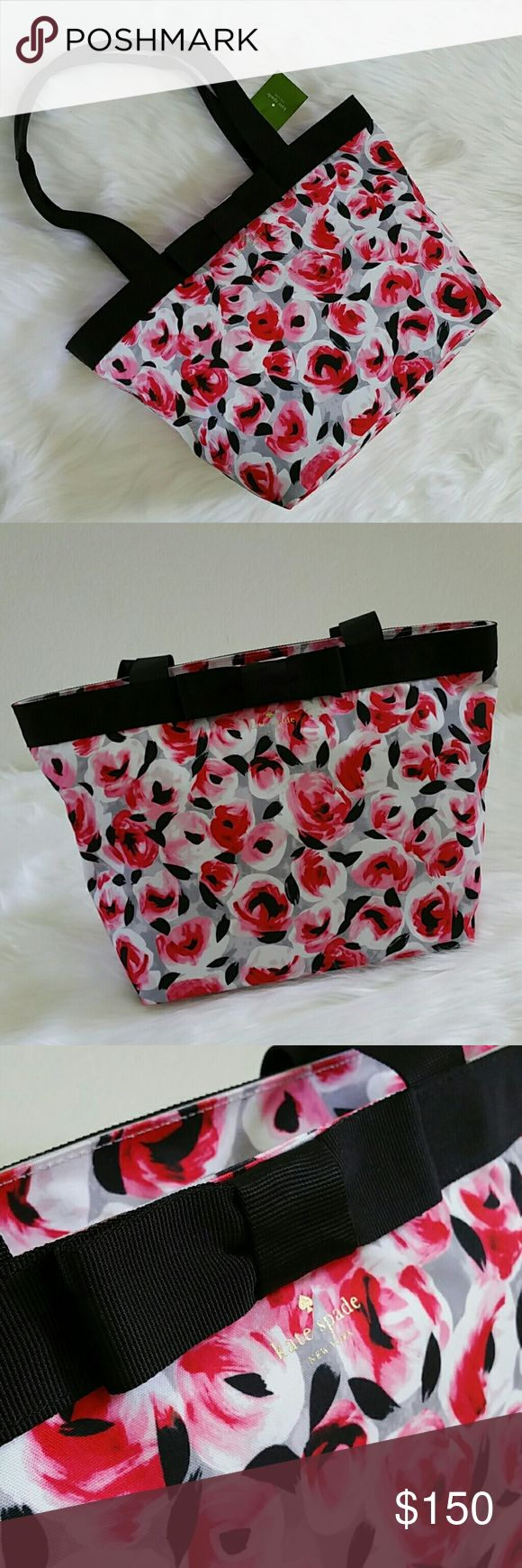 ♠SALE♠️kate spade chester lane dorothy tote kate spade chester lane dorothy tote Posy red multi rose patterned fabric tote with zippered top closure Grosgrain ribbon and bow trim and handles with saffiano leather wraps Interior in a silver treated finish with zipper and slip pockets Brand new and unused No trades Offers through Poshmark or add to bundle and ask for private offer, SALE price is firm kate spade Bags Totes