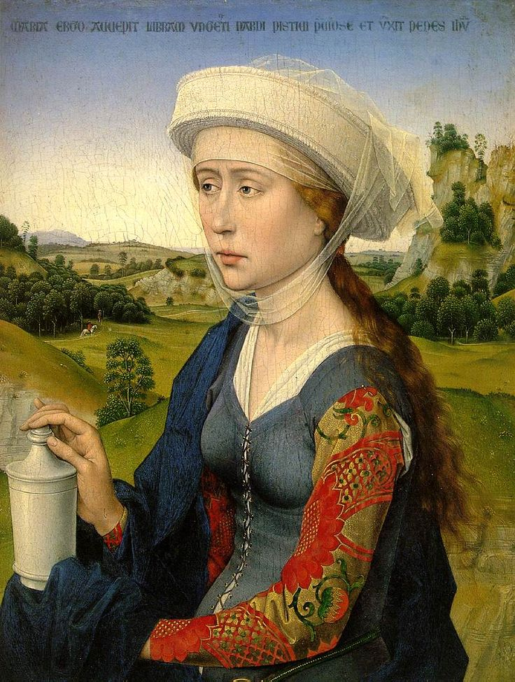 Rogier van der Weyden (Flemish painter, 1400-1464) - Magdalen Right panel of the Braque triptych.  This may very well be the finest Flemish 15th century portrait existing. Please note Mary's elegant posture, her splendid clothes and delicate face. In her hand is her usual attribute; the jar with ointment with which she has anointed Jesus' feet.  The text in the top refers to that act as described in John 12.
