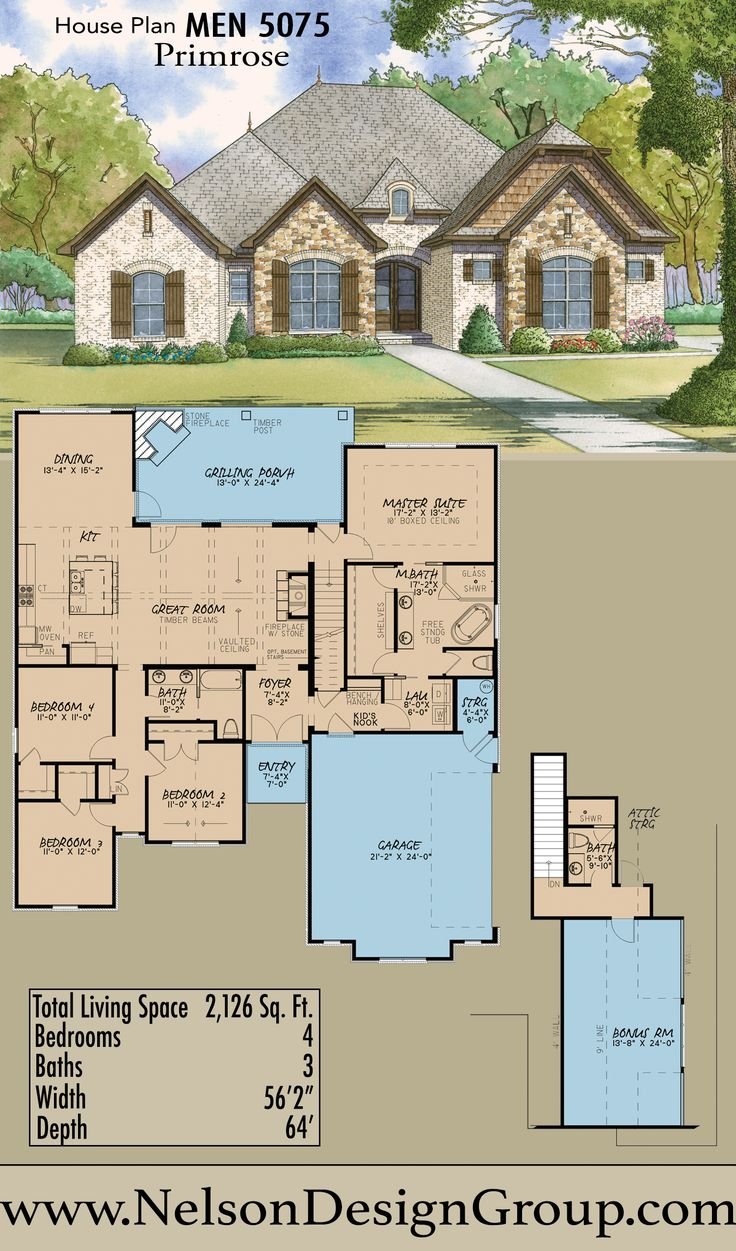House Plan with Vaulted Ceiling with Beams