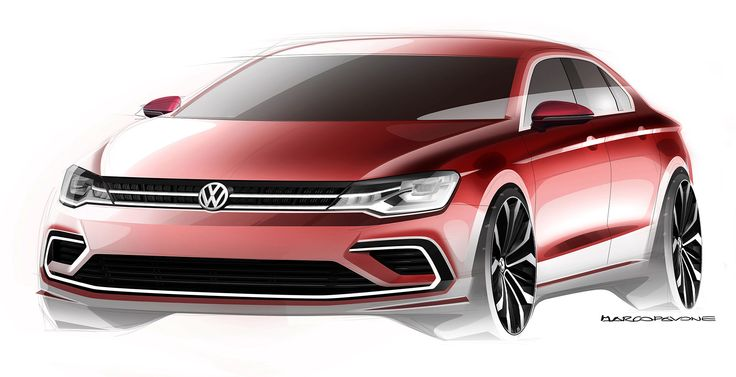 Volkswagen Midsize Coupe Concept Design Sketch