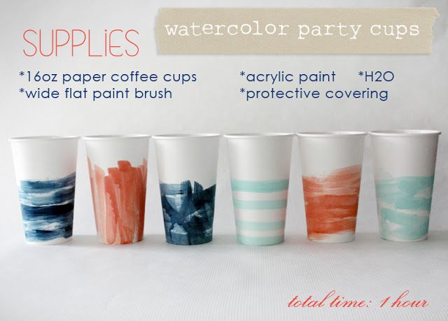 Love & Lace: DIY watercolor party cups