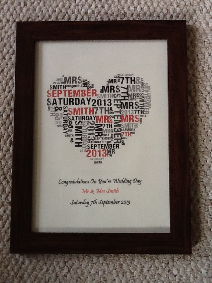 Wedding Heart Word Cloud. Price dependent on frame and size. Product pictured in photo is A4 and £15 plus £3.75 p@p.