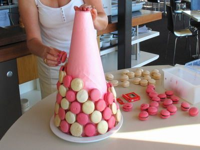 How to Make Tower of Macarons - http://www.macarons.org.uk/how-to-make-tower-of-macarons.htm