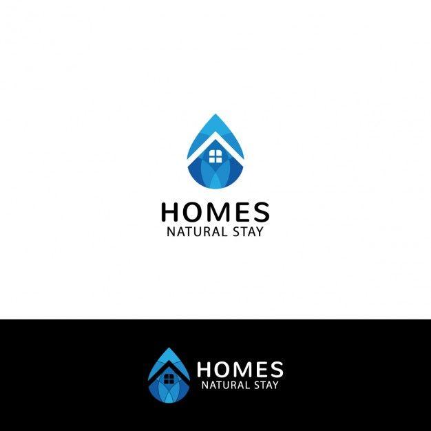 Logo de inmobiliaria en forma de gota Vector Gratis