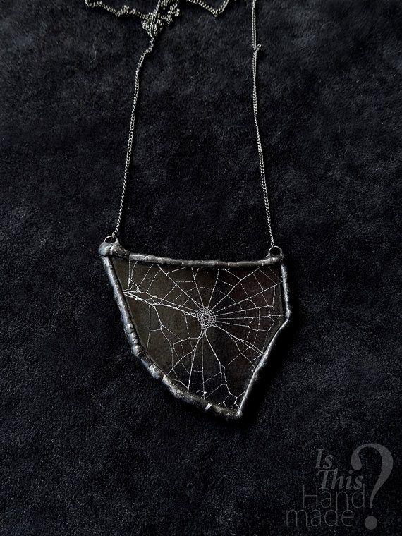 Real spider web necklace. Spiderweb cobweb by IsThisHandmade