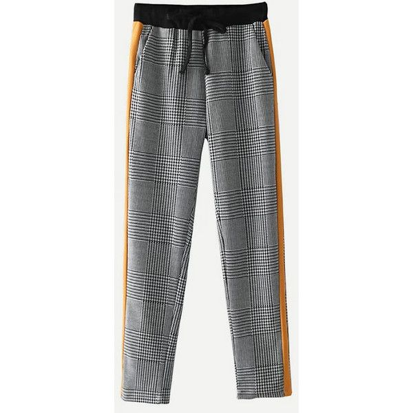 SheIn(sheinside) Glen Plaid Tapered Pants ($20) ❤ liked on Polyvore featuring pants, capris, multicolor, straight leg trousers, drawstring trousers, drawstring pants, tartan pants and embellished pants