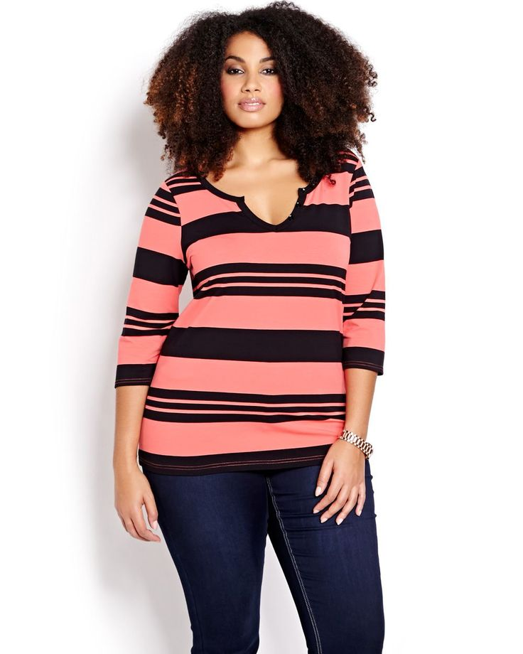 3/4 Sleeve Stripe Henley Top  | Addition Elle