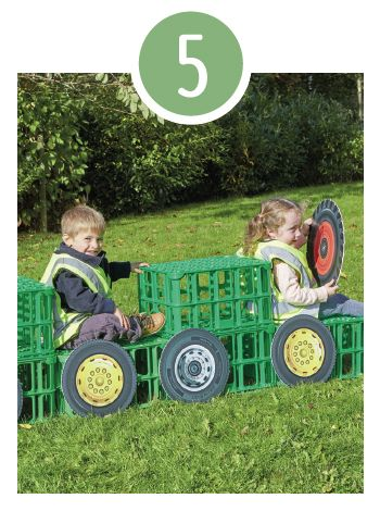 Imaginative transport Sturdy and strong, these crates can be paired with a variety of accessories to create the ultimate vehicle. Is it a car, a bus, a lorry, or even a tractor? Add wheels and steering wheels and encourage children to describe their journeys and adventures.