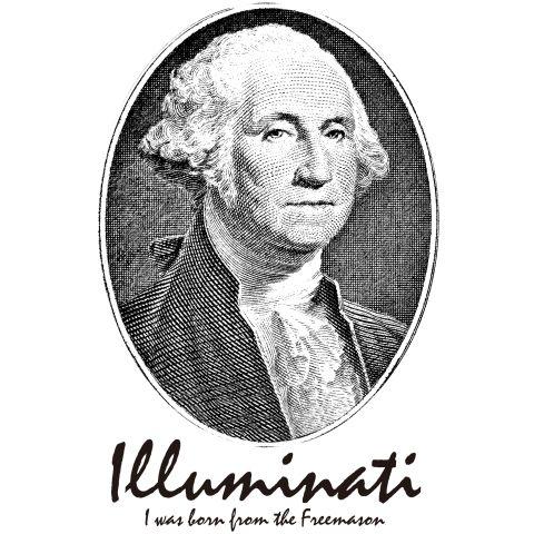 ジョージワシントン イルミナティ フリーメイソン    ジョージワシントンをメインにイルミナティの欧文を絡めたDESIGN。