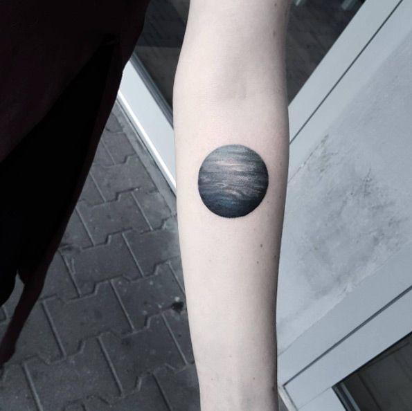 Blackwork Planet Tattoo by Matteo Nangeroni