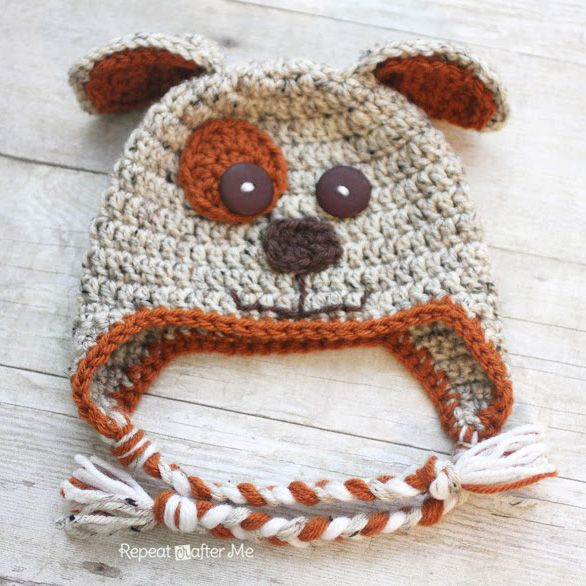 Repeat Crafter Me: Crocheting puppy dog hat