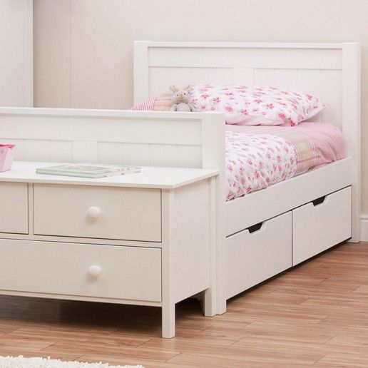 The Stompa Classic Kids White Single Bed is a true classic. The elegant design and would look equally at home in your child's modern or traditional bedroom setting. The Stompa Bed is crafted out of high quality lacquered Scandinavian pine.The pine construction is hard-wearing and durable. A storage drawer and trundle bed are also available in the range. Please note that a choice of suitable mattresses are sold separately. Additional matching furniture and accessories are also available. B...