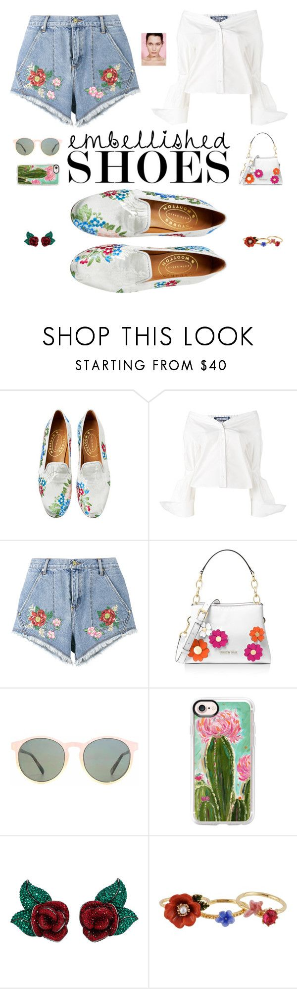 """#embellishedshoes"" by rrenitha ❤ liked on Polyvore featuring Jacquemus, House of Holland, MICHAEL Michael Kors, HOOK LDN, Casetify, Atelier Swarovski and Les Néréides"