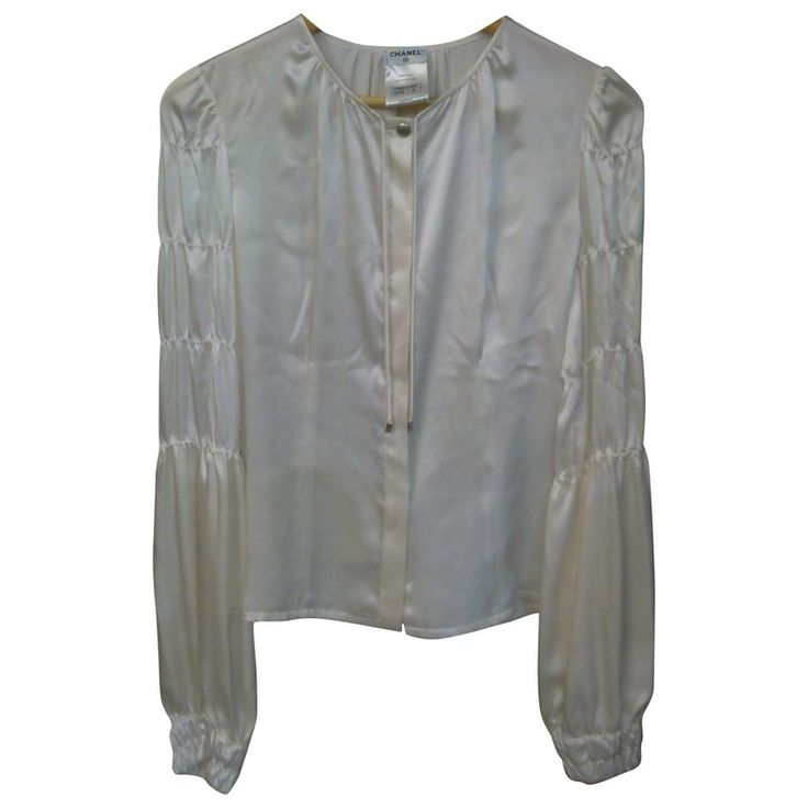 ecru Plain Silk CHANEL Top - Vestiaire Collective