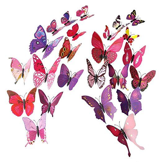 Mudder 3D Butterfly Stickers Wall Stickers for Home, Room Decoration, 24 Pieces (Purple Red)