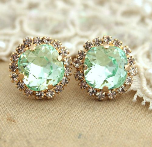 Mint Stud Earrings,Mint Earrings,Swarovski Mint Studs,Bridal Mint…