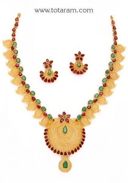 22K Gold 'Peacock' Necklace & Drop Earrings Set with Rubies & Emeralds  - 235-GS3018 - Buy this Latest Indian Gold Jewelry Design in 43.400 Grams for a low price of  $2,901.39 #PeacockGoldJewellery