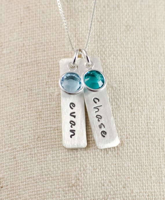 Hand stamped Sterling Silver tag necklace - Mothers necklace - Grandmothers necklace