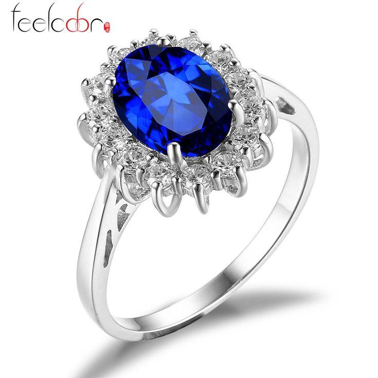 http://rubies.work/0052-karat-yellow-gold/ Luxury British Kate Princess Diana William Engagement Wedding Blue Sapphire Ring Set Pure Solid 925 Sterling