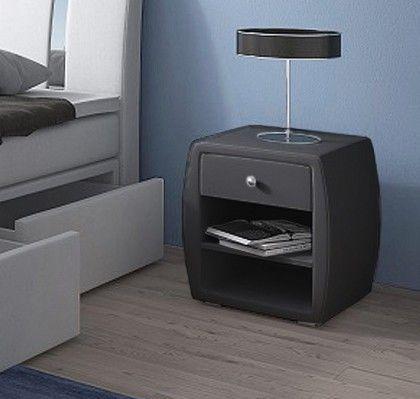 Mesita de noche Laguna en color negro. Mesita de noche de aire moderno y distinguido. Su estructura y color permite que sea de fácil combinación con varios modelos de camas disponibles en esta web. www.mueblesbonitos.com