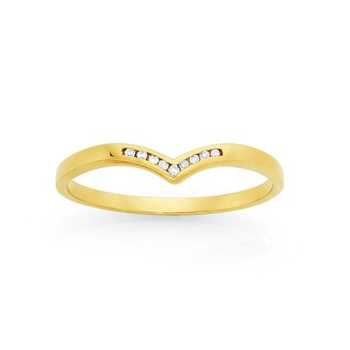 9ct Gold Diamond Round Brilliant Cut 'V' Anniversary Ring