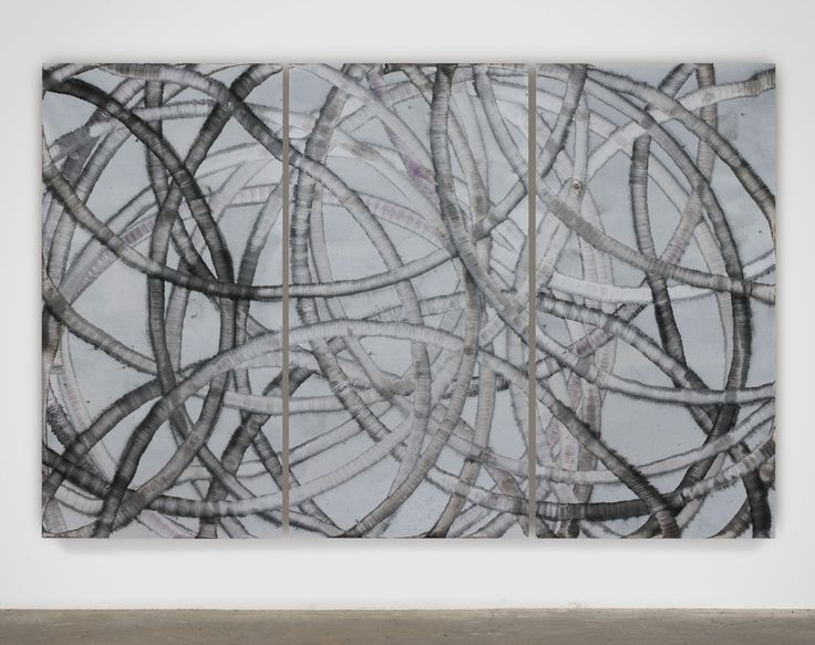 Aaron Young  Untitled, 2011, Acrylic, burnt rubber and motor oil on aluminium, 244 x 366 cm, Courtesy Almine Rech Gallery