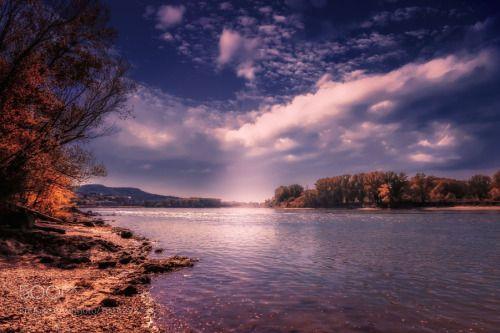 Hainburg an der Donau by gabriele-hartmann  sky water river clouds austria danube donau Hainburg an der Donau gabriele-hartmann